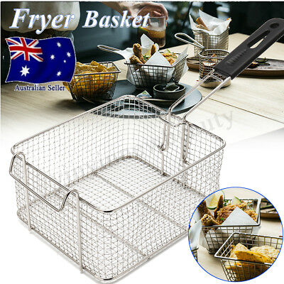 210x180x110mm Universal Fry Basket Chrome Plated PVC Coated Handle Deep Fryer