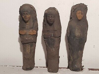 Rare Antique Ancient Egyptian 3 Ushabti Servant Minions dead mummy 1760-1680BC