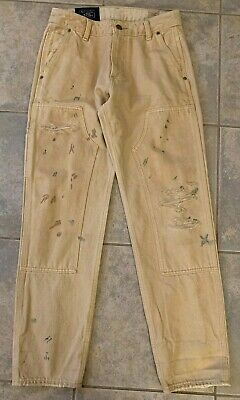 Mens Boys Size 26 X 30 Abercrombie & Fitch 7 Pocket Ripped/Paint details Jeans