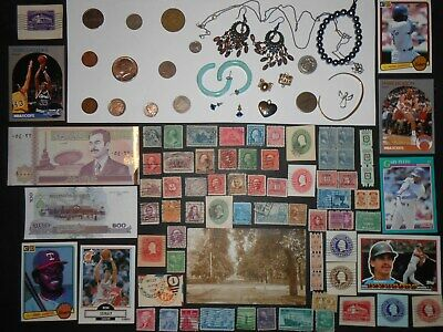 JUNK DRAWER LOT_Jewelry Items, U.S.A.COINS, 1938-D Mercury Dime, Banknotes, 1899