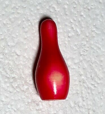 Red & Cream Realistic Bowling Pin Celluloid Button