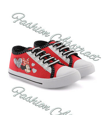 New Kids Girls Junior Canvas Plimsolls Pumps Minnie Mouse Shoes Size UK 2-10