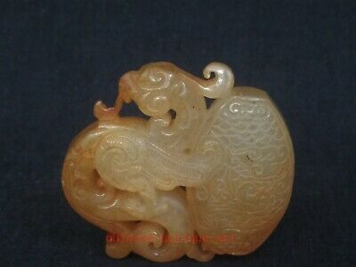 Collection Ancient Chinese Jade Carving Beautiful Jasper Phoenix Pendant Amulet