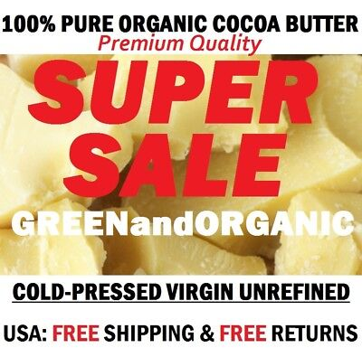 32oz / 2Lbs RAW 100% PURE COCOA BUTTER Unrefined Natural Fresh Cold Pressed 907g