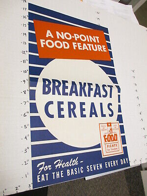 WWII war ration 1942 grocery store poster sign NO POINT FOOD breakfast cereal