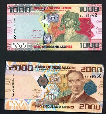 SIERRA LEONE - 2010 to 2013 Full Set 1000, 2000, 5000 and 10000 Leones  UNC
