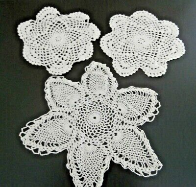 Three Vintage White Cotton Hand Worked Crochet Lace Mats/Doilies
