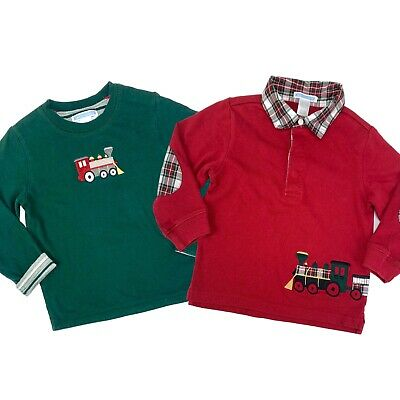 JANIE & JACK Boys Train Tee Shirts Size 2T Toddler Green Red Holiday Lot of 2