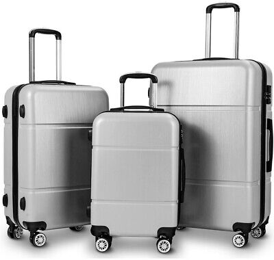 Costway 3Pc Luggage Set 20'' 24'' 28'' Trolley Suitcase ABS+PC Spinner w TSA