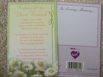 "In Loving Memory ""Thinking Of You Dear Friend"" Graveside Memorial Card"
