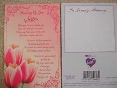 "In Loving Memory ""Thinking Of You Sister"" - Graveside Memorial Card"