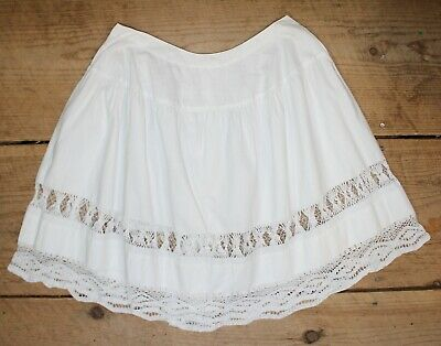 Antique 19th Century Victorian White Cotton & Crocheted Lace Petticoat Girl's