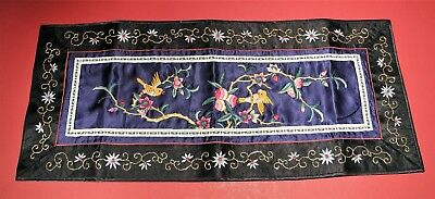 Vintage Chinese Oriental Silk Embroidery Table Wall Runner Bird Flower Panel