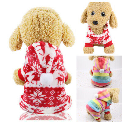 Dog Fleece Outfits Winter Hoodie Soft Jumpsuit Coat Puppy Small Clothes Pet