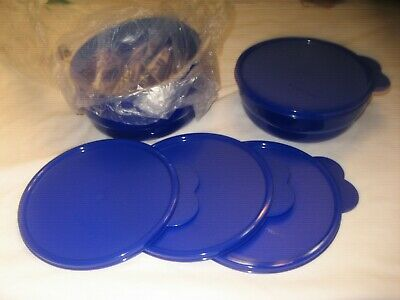 Tupperware Microwave Reheatable Cereal Bowls Set Of (4) Dk. Blue Mip Free Ship