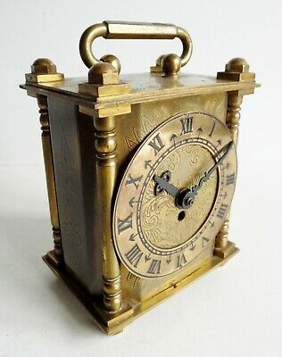 Rare Old Smith's Brass Mantel Clock - Made In Great Britain - Fine Engraved Case
