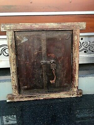 Ancient Wood Hand Carved Old House Window Door Framed With Antique Iron Lock