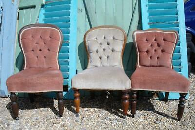Antique Victorian Bedroom Occasional Chairs x3 Collection, Boutique Hotel CHIC
