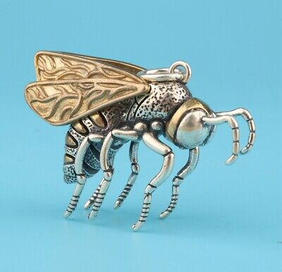China 925 Silver Hand-Carved Bee Sculpture Exclusive Custom Pendant Collection