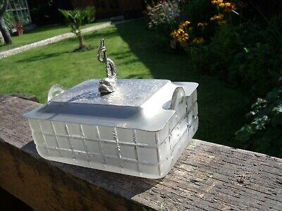 Antique Victorian Silver Plated and Frosted Glass Caviar Sardine Dish