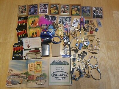 VINTAGE ESTATE JUNK DRAWER lot Jose canseco jewelry charm bracelets troll care b