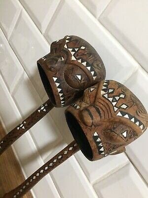 2 X Tribal Art Treen Wooden Ladles Mother Of Pearl Inlay 'Headhunter'Decorative
