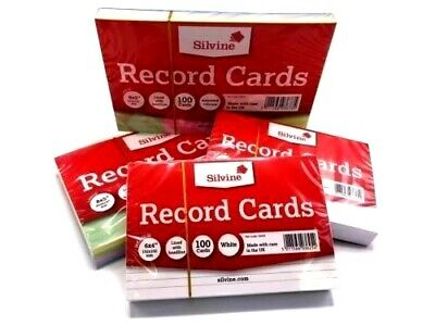 Revision-Flash-Index Record Cards - White-Ruled-Coloured FREE P&P UK