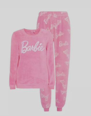 Disney Barbie Ladies Girls Long Fleece Pyjama Set From Primark
