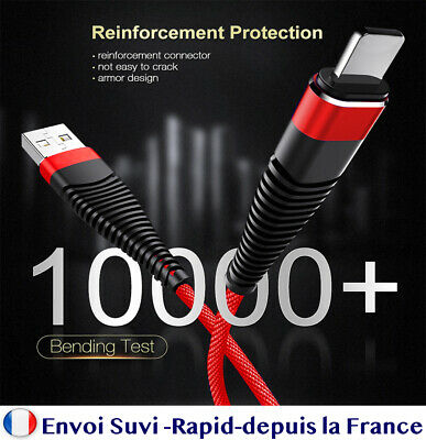 CHARGEUR APPLE CABLE USB 1 m Pour IPHONE 5/5C/5S/6/6S/7/8/X/XS/XR/iPod 11 pro ma
