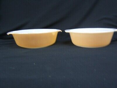 Lot of 2 Fire King Peach Luster 1 1/2 Qt Casseroles Anchor Hocking  VGC