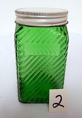 Owens Illinois Forest Green TEA or RICE  Canister Diagonal LInes White Lid #2