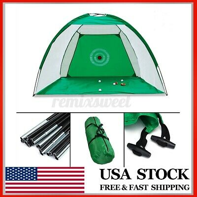 7ft Golf Practice Cage Driving Net Training Aid Mat w/ Driver Irons Free Bag US