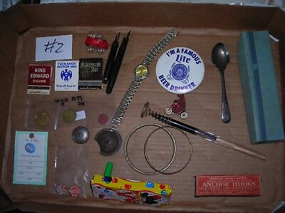 VINTAGE JUNK DRAWER LOT #2 TOYS, PINS, TINS,Advertising ,WATCH,Tokens,matchbooks
