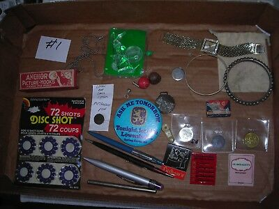 VINTAGE JUNK DRAWER LOT #1 TOYS, PINS, TINS,Pen's,Advertising ,WATCHES,Tokens