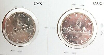 CANADA CANADIAN 2 x B/UNC 1953 $1 COINS.