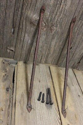 "2 Shelf supports brackets 10 1/2"" heart tip old wrought iron barn red vintage"