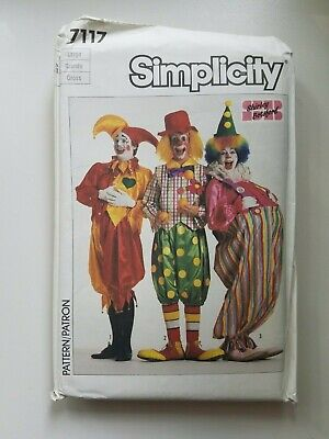 Vintage 1980s Simplicity 7117 Adult Clown Hobo Sewing Pattern Factory Fold