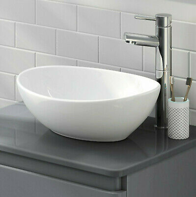 Bathroom Oval Counter Top Basin White Gloss Ceramic Vanity Curved Sink Cloakroom