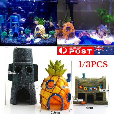 AU 1/3pcs Sponge Bob Pineapple House Hole Fish Tank Decoration Aquarium Ornament
