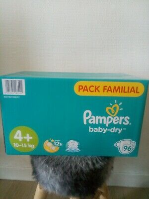 96 couches Pampers Baby dry. pack familial.taille 4+.  (10-15kg)