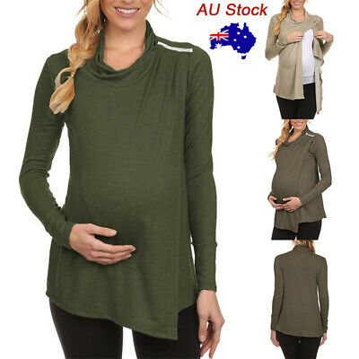 Pregnant Women Zipper Maternity Shirt Casual Long Sleeve Breastfeeding Blouse