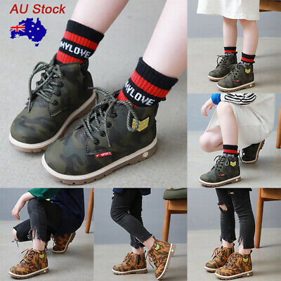 Kids Camouflage Zipper Ankel Bootd Children Lace Up Casual Martin Shoes Booties