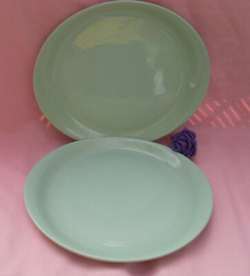 2  X  Woods Ware -  Beryl -  Green  - Steak Plates - Wwii