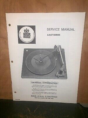 BSR Turntable record player AA47 Series Service Manual Schematics