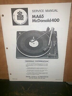 BSR Turntable record player MA65 McDonald 400 Service Manual Schematics