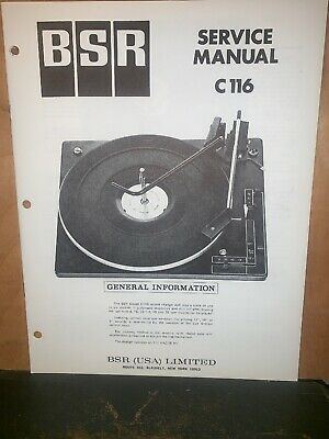 BSR Turntable record player C116 Service Manual Schematics.