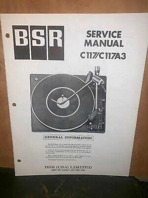 BSR Turntable record player C117/C117A3 Service Manual Schematics.