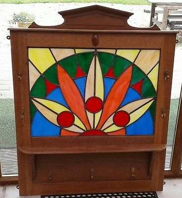 Lovely Stained Glass Panel With Coat Hooks Wall Hanging Shelf Solid Oak