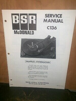 BSR Turntable record player C136 Service Manual Schematics.