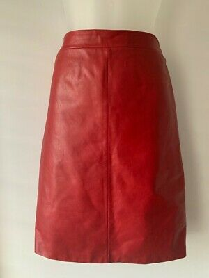 Ladies 'Oroton' Red Leather Skirt Sz 10